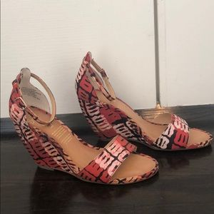 Red Print Wedge Sandal from Anthropologie